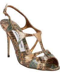 Manolo Blahnik Worty Cutout Tstrap Sandals - Lyst