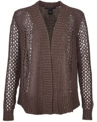 Scoop Open Cardigan With Back Fringe - Lyst