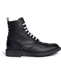 Givenchy Full Brogue Leather Derby Boots black - Lyst