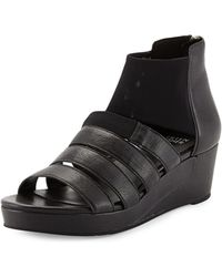 Eileen Fisher Fence Mid-Wedge Multi-Band Sandal - Lyst