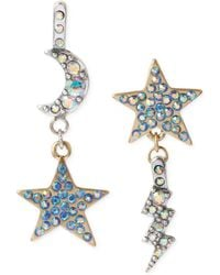 Betsey Johnson Two-tone Star and Moon Drop Earrings - Lyst