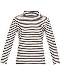 Orcival - Funnel-neck Striped Wool Sweater - Lyst