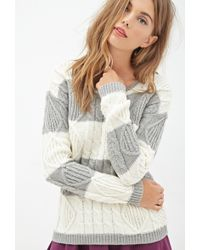 Forever 21 Striped Cable Knit Sweater - Lyst