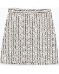 Zara A-Line Jacquard Mini Skirt - Lyst