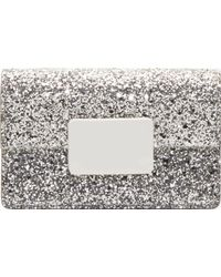 Saint Laurent Silver Glitter Leather Lulu Bunny Small Satchel - Lyst