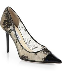 Jimmy Choo Amika Patent Leather & Lace Pumps - Lyst