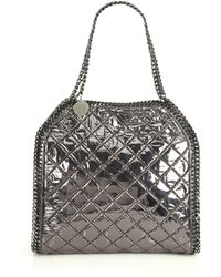 Stella McCartney Falabella Metallic Quilted Faux Leather Fold-Over Tote silver - Lyst