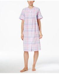 Miss Elaine | Short Embroidered-trim Plaid Robe | Lyst