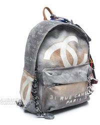 Chanel Pre-Owned Runway Grey Graffiti Backpack - Lyst