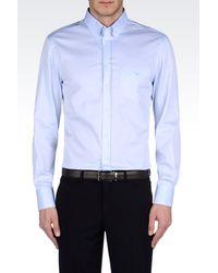 Emporio Armani Regular Fit Cotton Twill Shirt - Lyst