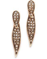 Oscar de la Renta Pave Spike Earrings - Gold - Lyst
