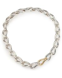 John Hardy | Bamboo Sterling Silver & 18k Yellow Gold Link Necklace | Lyst