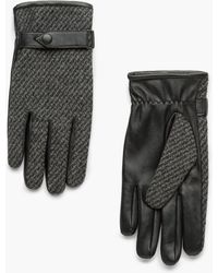 Mango - Leather Wool-blend Gloves - Lyst