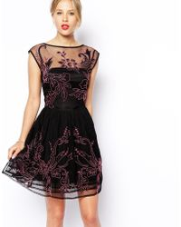 Asos Skater Dress with Floral Embroidery - Lyst