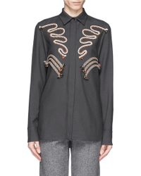 Stella McCartney Rope Embroidery Wool Twill Tailored Shirt - Lyst
