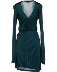 Versace Jeans Couture Long Sleeve V-Neckline Deep Jade Short Dress - Lyst