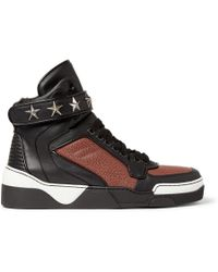Givenchy Tyson Hightop Leather Sneakers with Stars - Lyst