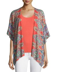 Neiman Marcus - Bordered Paisley Knit Kimono - Lyst