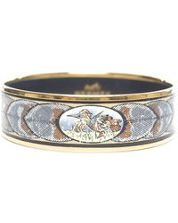 Hermes Preowned Feathers Enamel Gold Wide Pm Bangle - Lyst