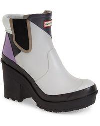 Hunter 'Dazzle' Platform Rain Boot purple - Lyst