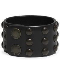 COACH - X Blitz Stud Wide Leather Cuff Bracelet - Lyst