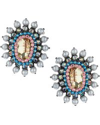 Topshop Oval Stone Stud Earrings - Lyst
