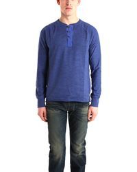 Rag & Bone Long Sleeve Raglan Henley blue - Lyst