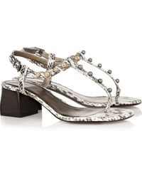 Lanvin Studded Elaphe Sandals - Lyst
