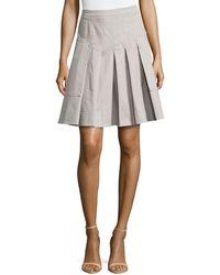 Halston Heritage Pleated Twill Pocket Skirt - Lyst