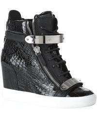 Giuseppe Zanotti Mockcroc Wedge Sneaker - Lyst