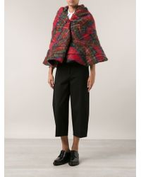 Junya Watanabe Structured Plaid Cape - Lyst