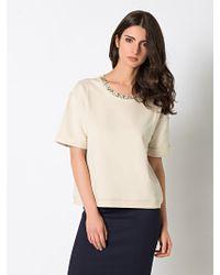 Patrizia Pepe Super Soft Cotton Plush with Jewel Applications - Lyst