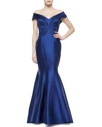 Zac Posen Seamed Off-Shoulder Drape Gown - Lyst