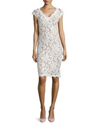 Tadashi Shoji Lace Cap-sleeve Sequined Cocktail Dress - Lyst