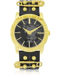 Versus  Miami Goldtone Womens Watch Wleather Strap - Lyst