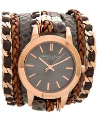 Sara Designs - Leather & Chain Wrap Watch - Rose Gold/Grey/Smoke - Lyst