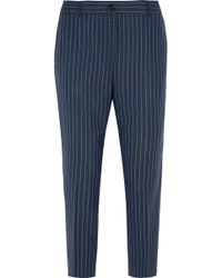 J.Crew Collection Ludlow Pinstriped Wool Straight-Leg Pants - Lyst