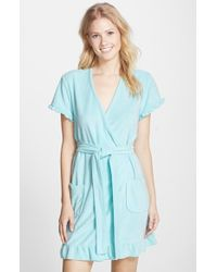 Betsey Johnson 'Vintage' Ruffle Trim Terry Robe blue - Lyst
