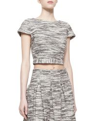 Alice + Olivia Elenore Short Sleeve Tweed Crop Top - Lyst