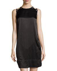 L.a.m.b. Sateen Lace-up Shoulder Dress - Lyst
