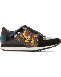 Kenzo Black Leather and Suede Tiger Print Sneakers - Lyst