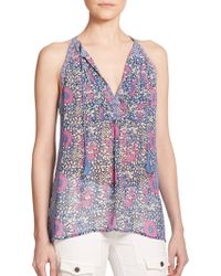 Joie Shara Printed Silk Top - Lyst
