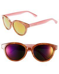 Isaac Mizrahi New York - 52mm Retro Sunglasses - Honey Tortoise/ Pink - Lyst