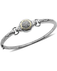 Lord & Taylor - Sterling Silver With 14kt. Yellow Gold Diamond Bangle Bracelet - Lyst