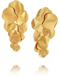 Herve Van Der Straeten - Hammered Gold Plated Clip Earrings - Lyst