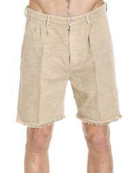 Mauro Grifoni - Trouser Linen Blend Short Pants With Fringes Edge - Lyst