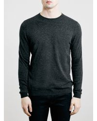 Topman Charcoal Twist Crew Neck Jumper - Lyst