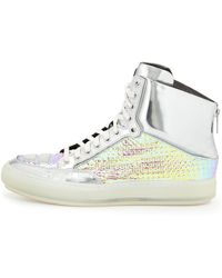 Alejandro Ingelmo Iridescent Grid Metallic Leather Hightop Sneaker Silver - Lyst
