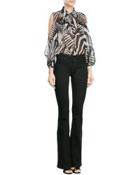 Just Cavalli | Printed Blouse With Cut-out Shoulders - Multicolor | Lyst