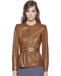 Gucci Belted Leather Jacket brown - Lyst